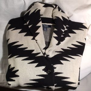 Chaps B & W sweater cardigan with buttons